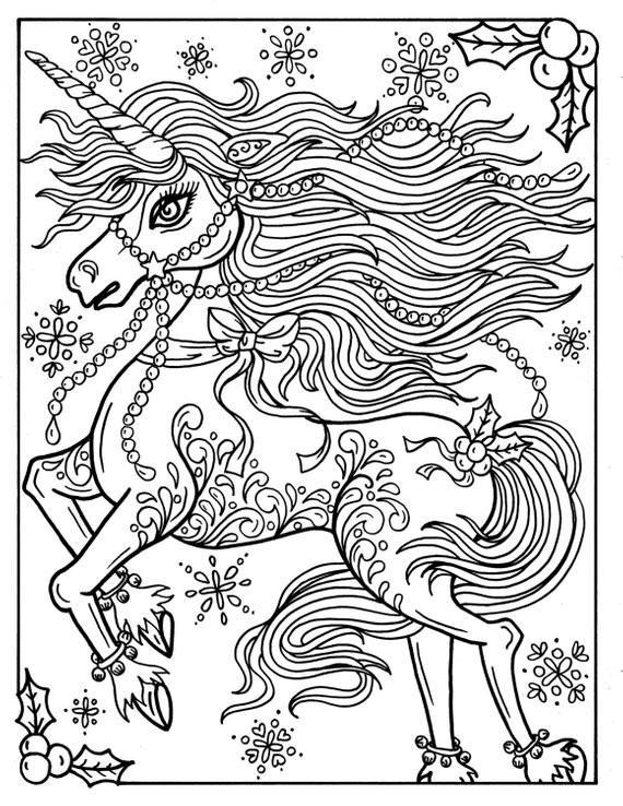 Adult Coloring Pages Unicorn  Christmas Unicorn Adult Coloring page Coloring book Holidays