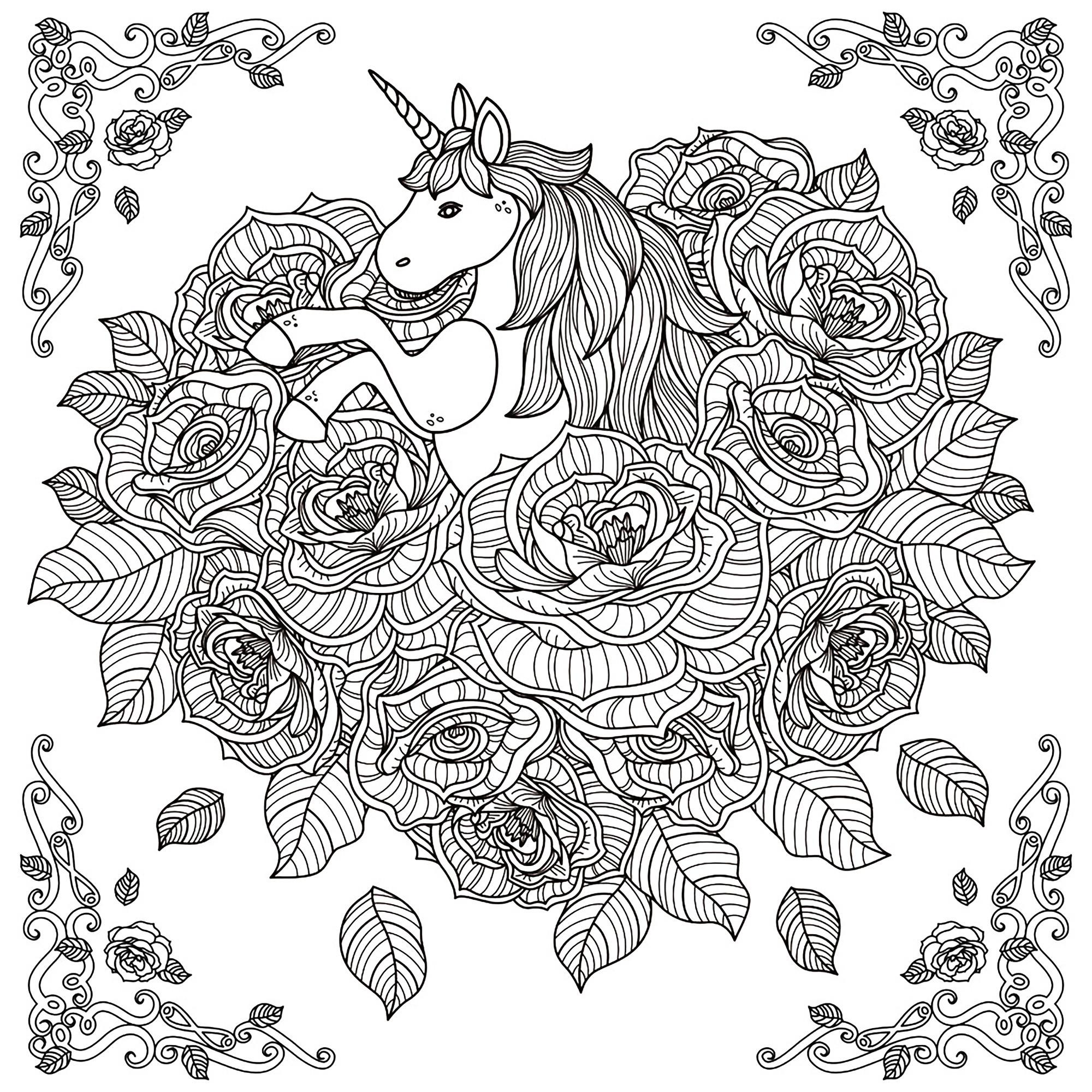 Adult Coloring Pages Unicorn  Unicorn mandala Unicorns Adult Coloring Pages