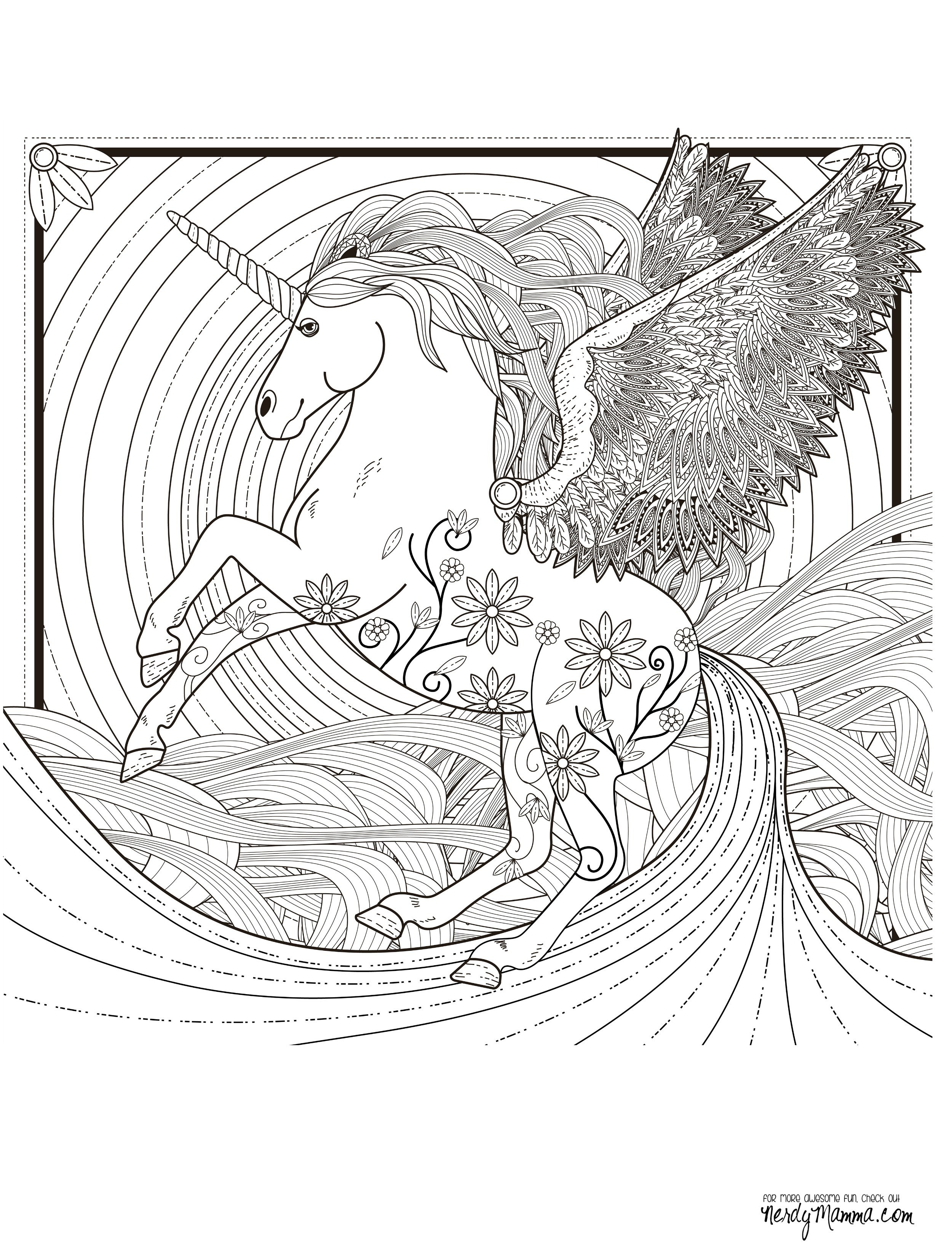 Adult Coloring Pages Unicorn  11 Free Printable Adult Coloring Pages