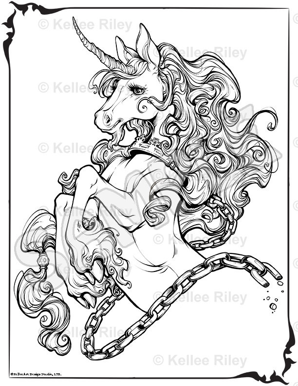 Adult Coloring Pages Unicorn  Unicorn Adult Coloring Pages