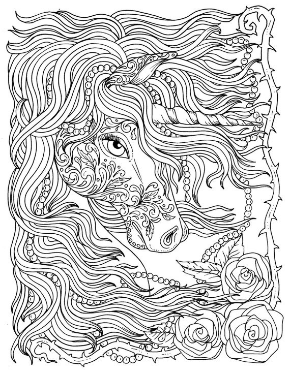 Adult Coloring Pages Unicorn  Unicorn and Pearls Fantasy Coloring Page Adult Coloring