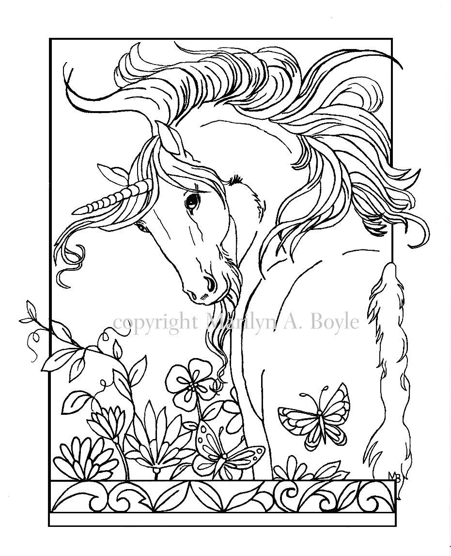 Adult Coloring Pages Unicorn  COLORING BOOK Five PAGES on 140 lb watercolor paper Fantasy
