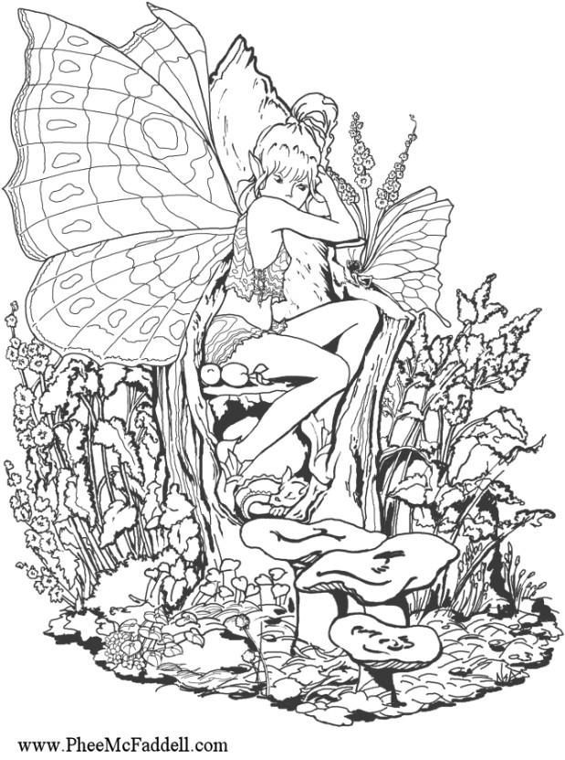 Adult Fairy Coloring Pages  25 best ideas about Fairy coloring pages on Pinterest