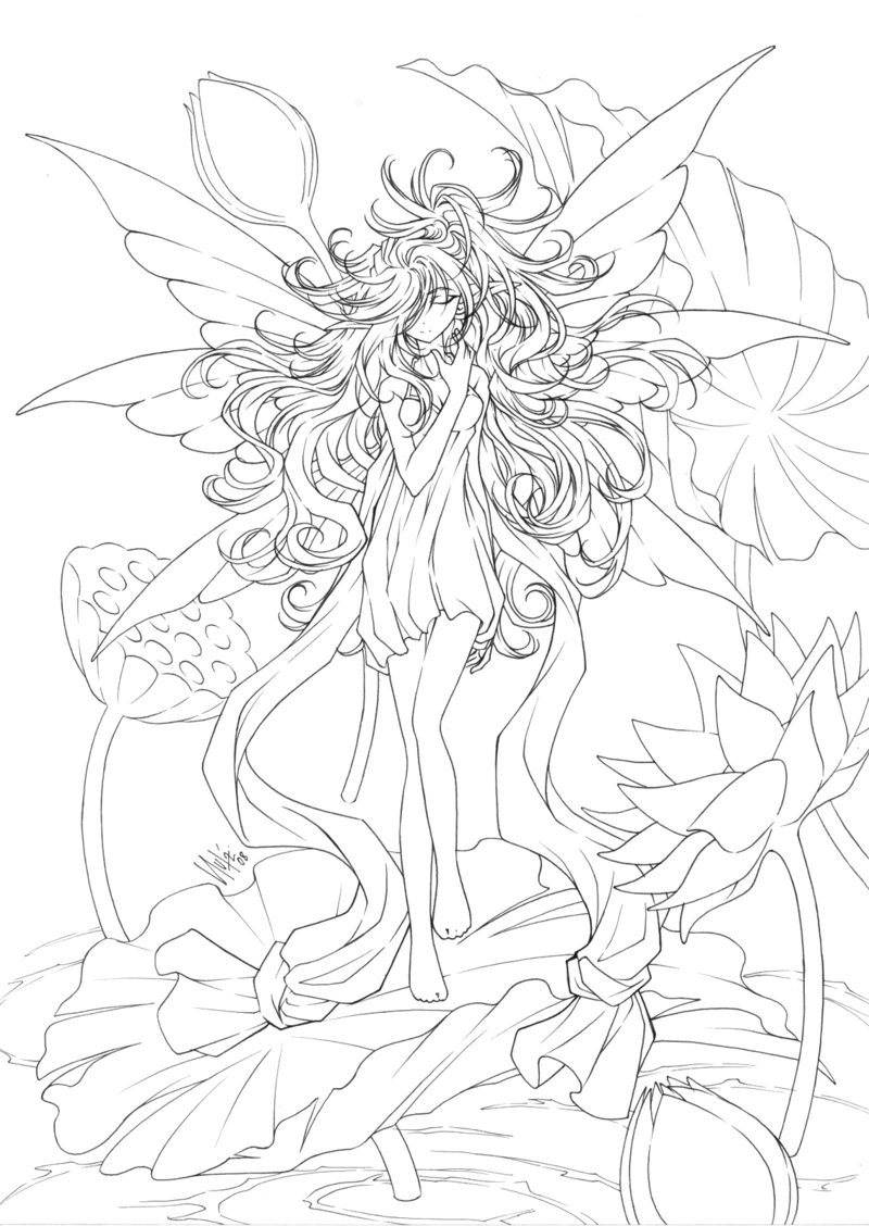 Adult Fairy Coloring Pages  Anime Coloring Pages for Adults Bestofcoloring