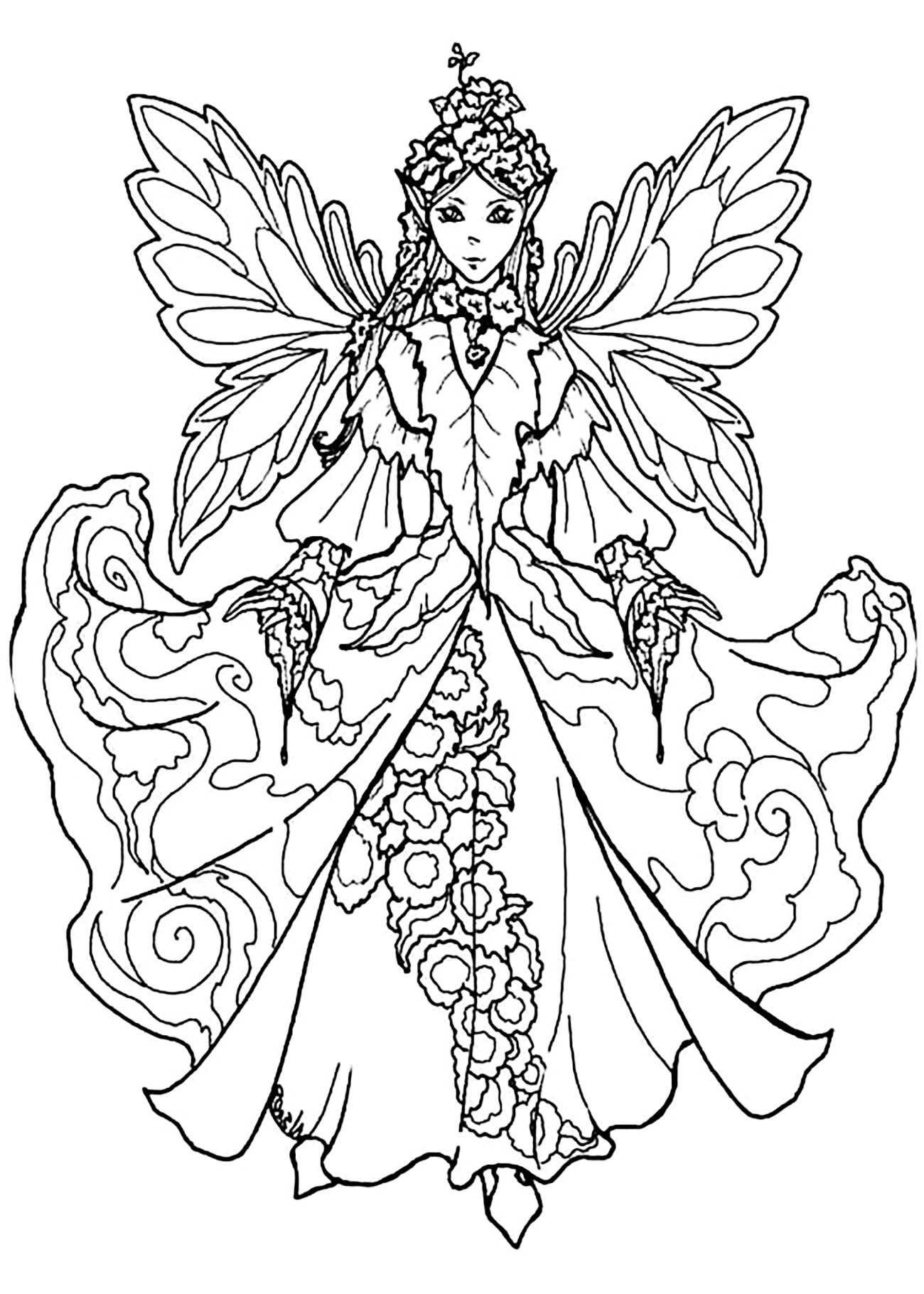 Adult Fairy Coloring Pages  Fairy with impressive dress Myths & legends Adult