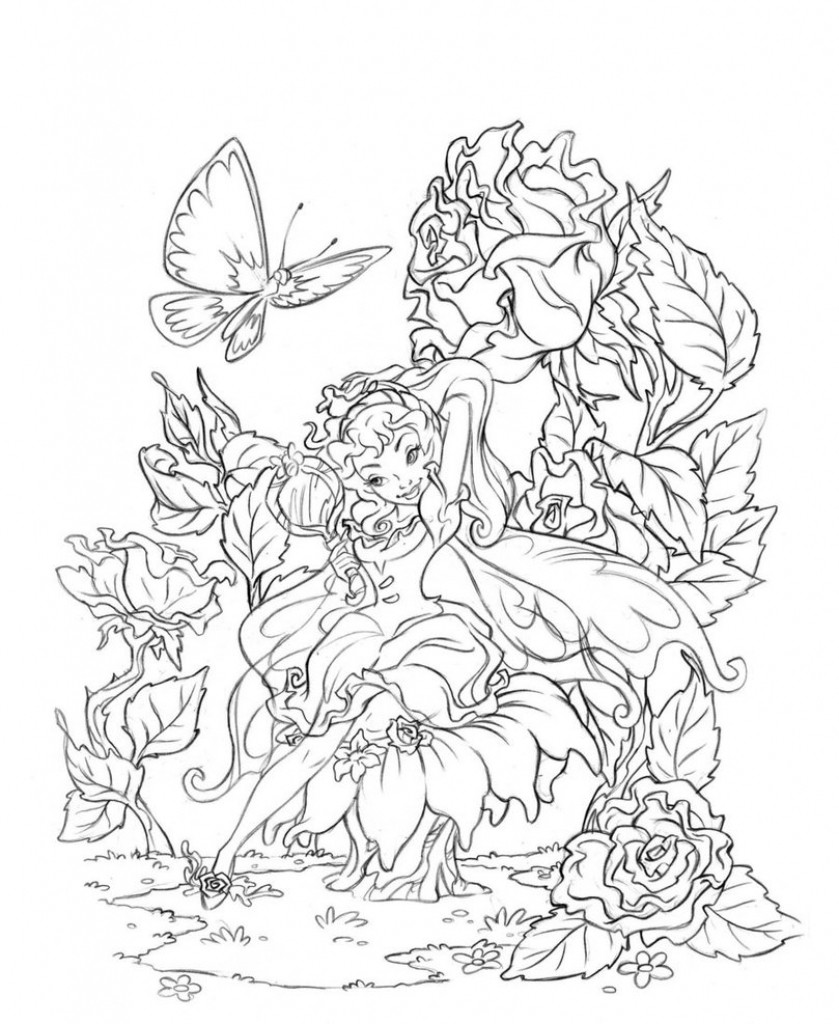 Adult Fairy Coloring Pages  beautiful coloring pages for adults