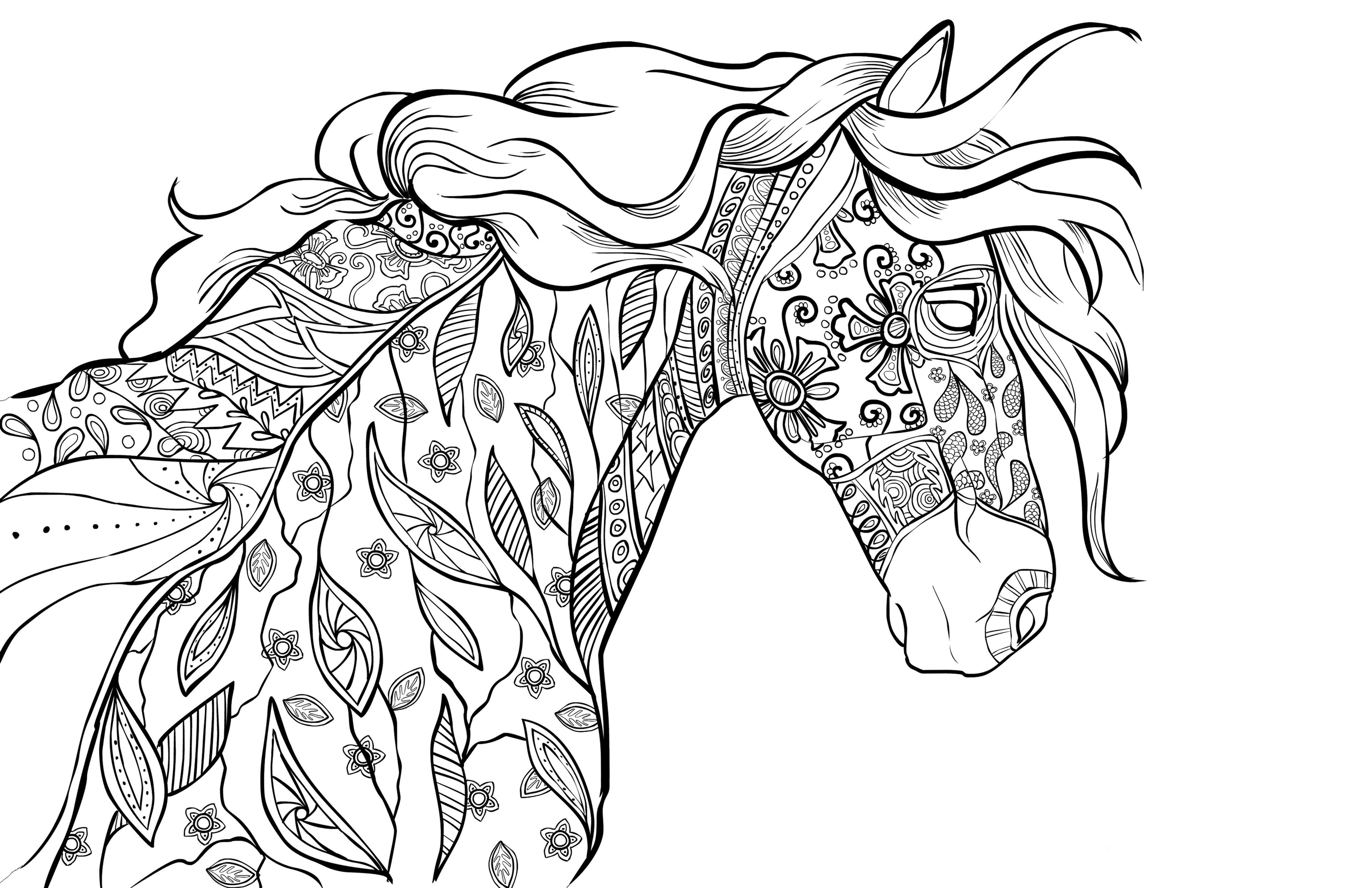 Adult Horse Coloring Pages  Adult Coloring Book Page – Coloring For Grownups