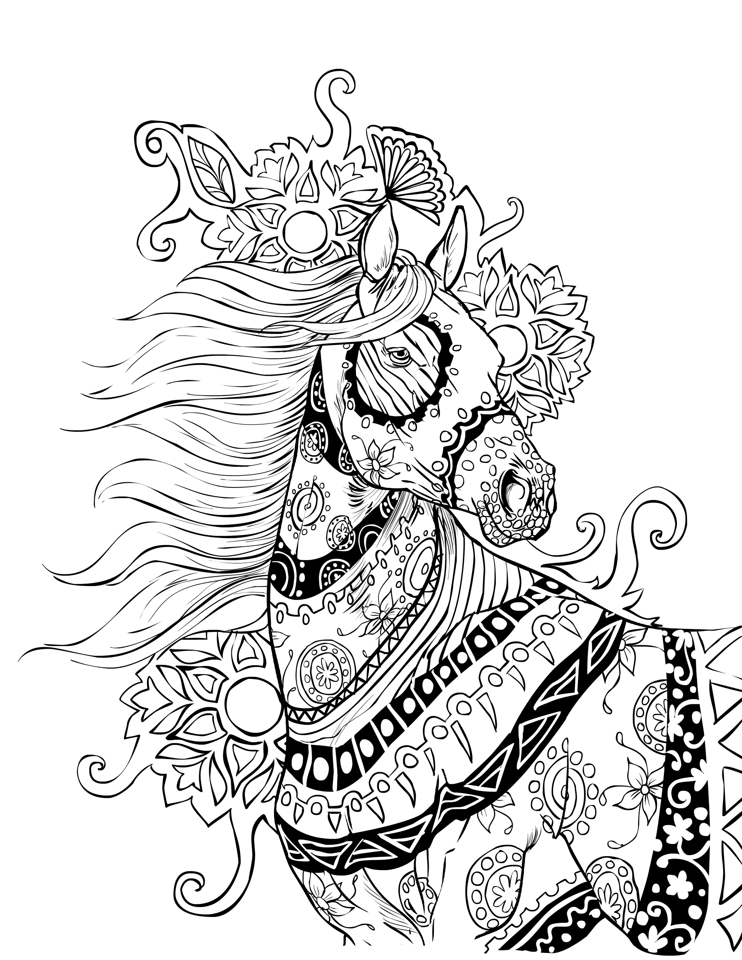 Adult Horse Coloring Pages  Intricate Coloring Pages For Adults Coloring Home