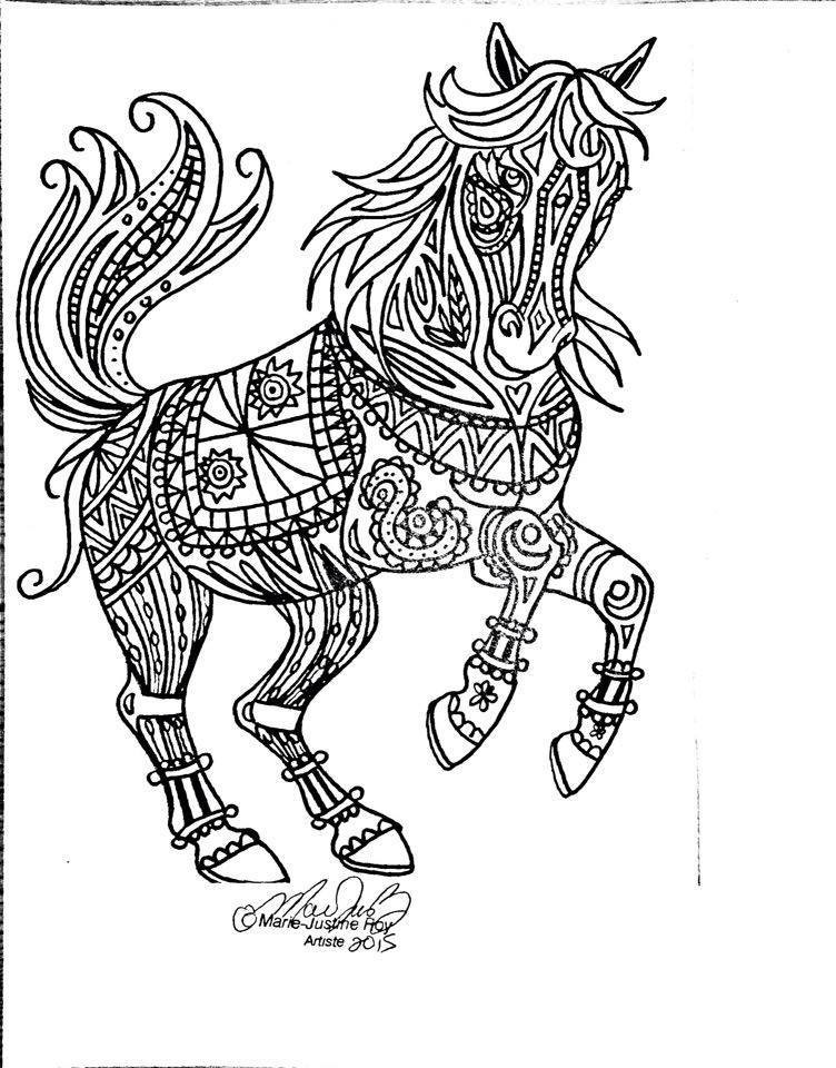 Adult Horse Coloring Pages  Marie Justine Roy Artist And Illustrator – Adult Coloring