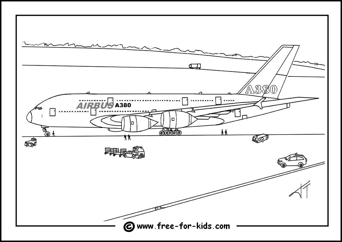 Airplane Coloring Pages For Adults  Airbus A380 Colouring Page Image