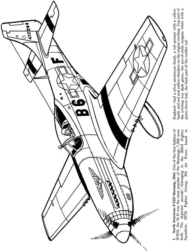 Airplane Coloring Pages For Adults  Airplanes of the Second World War Coloring Book Dover