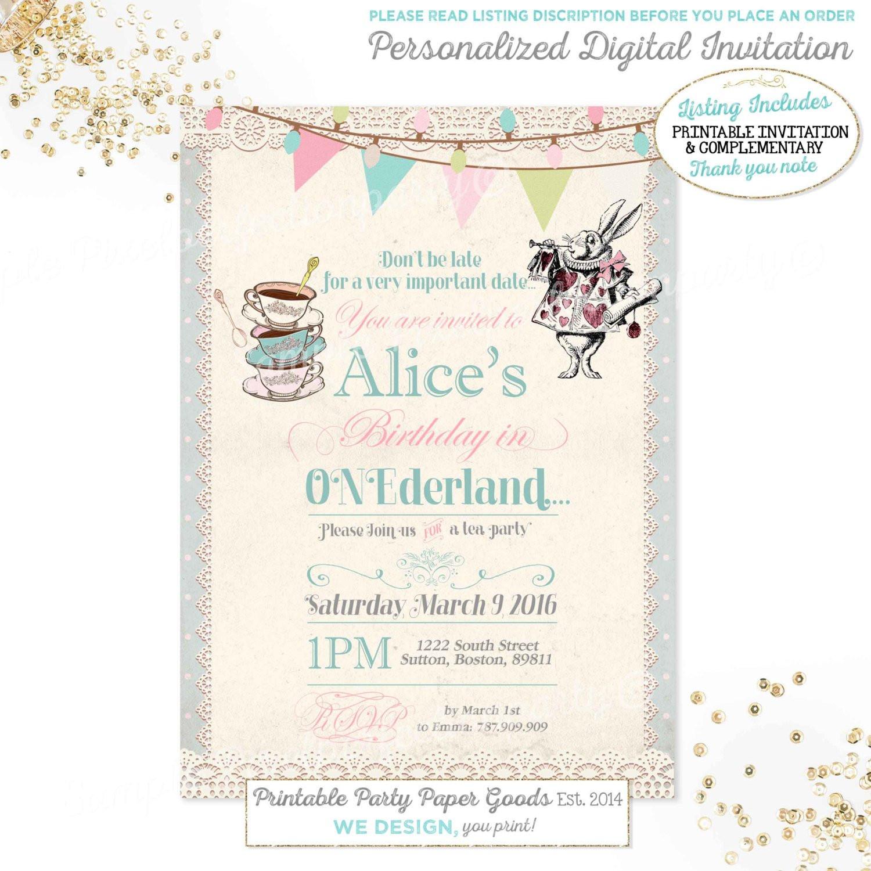 Best ideas about Alice In Wonderland Birthday Invitations . Save or Pin Alice in Wonderland 1st Birthday Invitation Alice In Now.