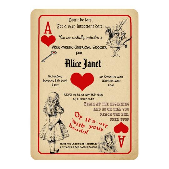 Best ideas about Alice In Wonderland Birthday Invitations . Save or Pin Alice in Wonderland Bridal Shower Invitation Now.