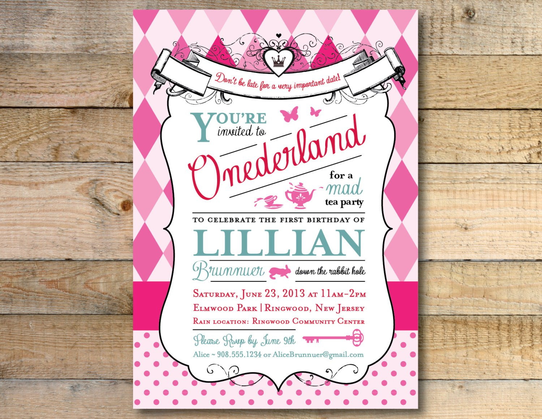 Best ideas about Alice In Wonderland Birthday Invitations . Save or Pin Alice in Wonderland Invitation 1st Birthday Party Now.