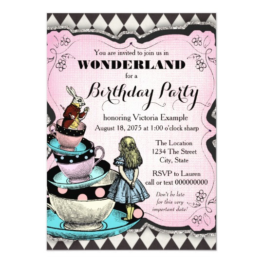 Best ideas about Alice In Wonderland Birthday Invitations . Save or Pin Vintage Alice in Wonderland Birthday Party Invitation Now.