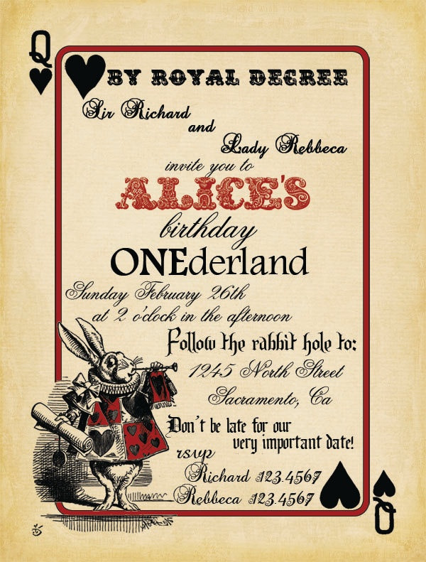 Best ideas about Alice In Wonderland Birthday Invitations . Save or Pin Free Printable Alice in Wonderland Birthday Invitations Now.