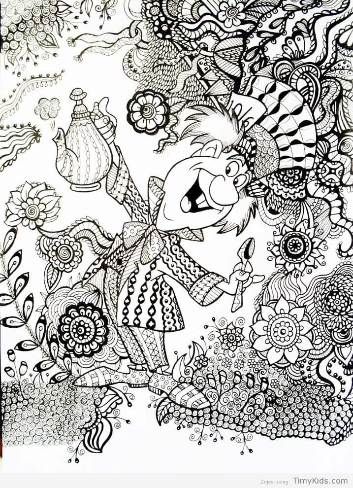 Alice In Wonderland Coloring Pages For Adults  alice in wonderland adult coloring pages