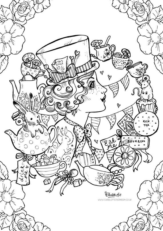 Alice In Wonderland Coloring Pages For Adults  Adult Colouring Page Mad Hatter Alice in Wonderland