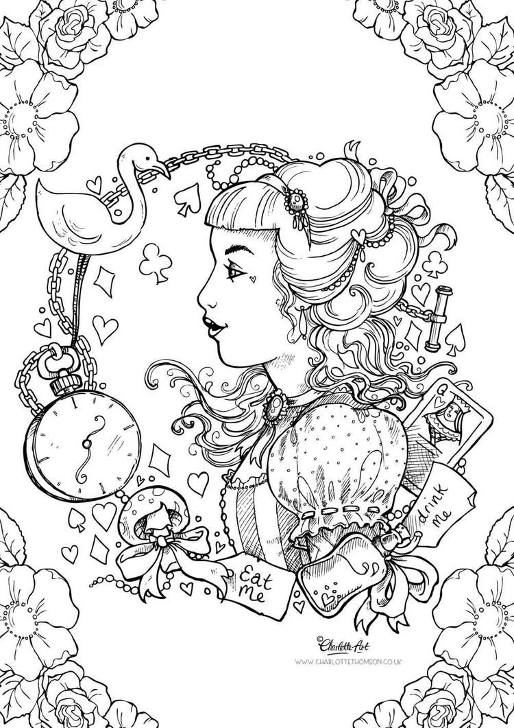 Alice In Wonderland Coloring Pages For Adults  Adult Colouring Page Alice in Wonderland by