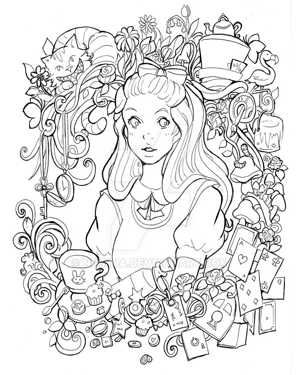 Alice In Wonderland Coloring Pages For Adults  Alice in Wonderland lineart by Namtia on DeviantArt
