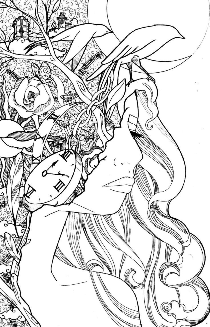 Alice In Wonderland Coloring Pages For Adults  990 best images about Colo on Pinterest