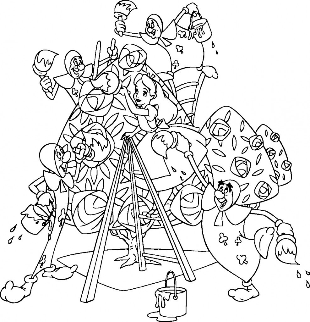 Alice In Wonderland Coloring Pages For Adults  Free Printable Alice in Wonderland Coloring Pages For Kids