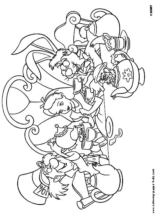 Alice In Wonderland Coloring Pages For Adults  mad tea party alice in wonderland disney coloring pages
