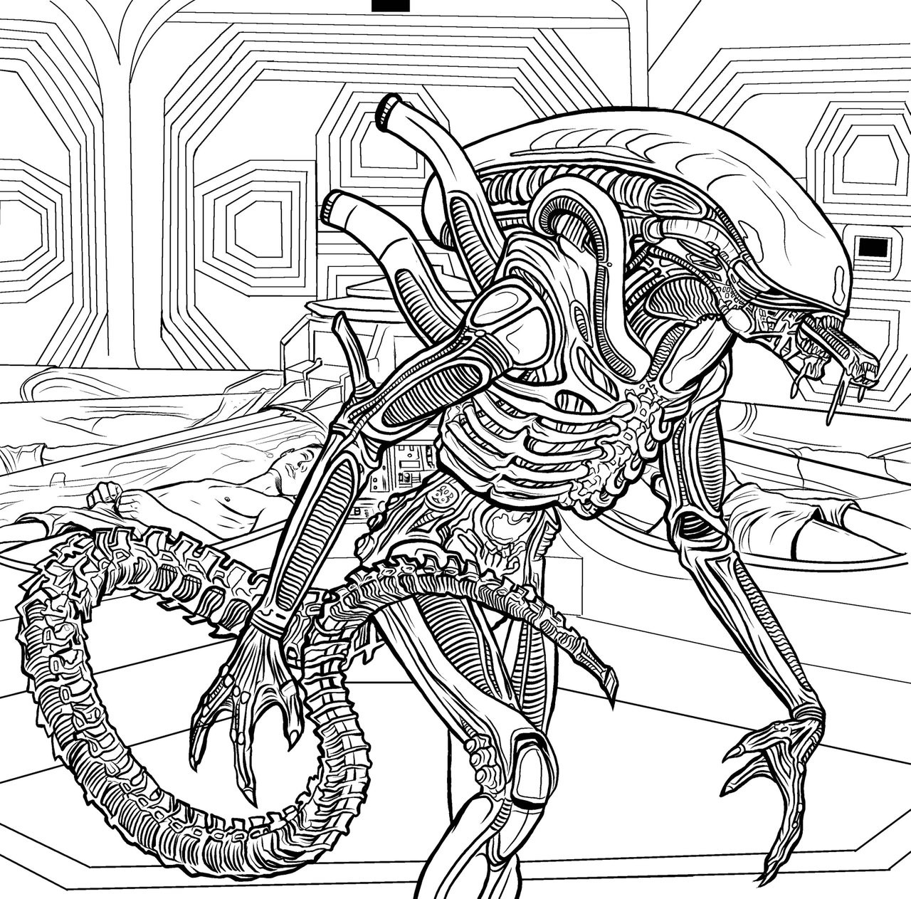 Aliens Coloring Pages  Alien The Coloring Book Color In Your Own Xenomorph IGN