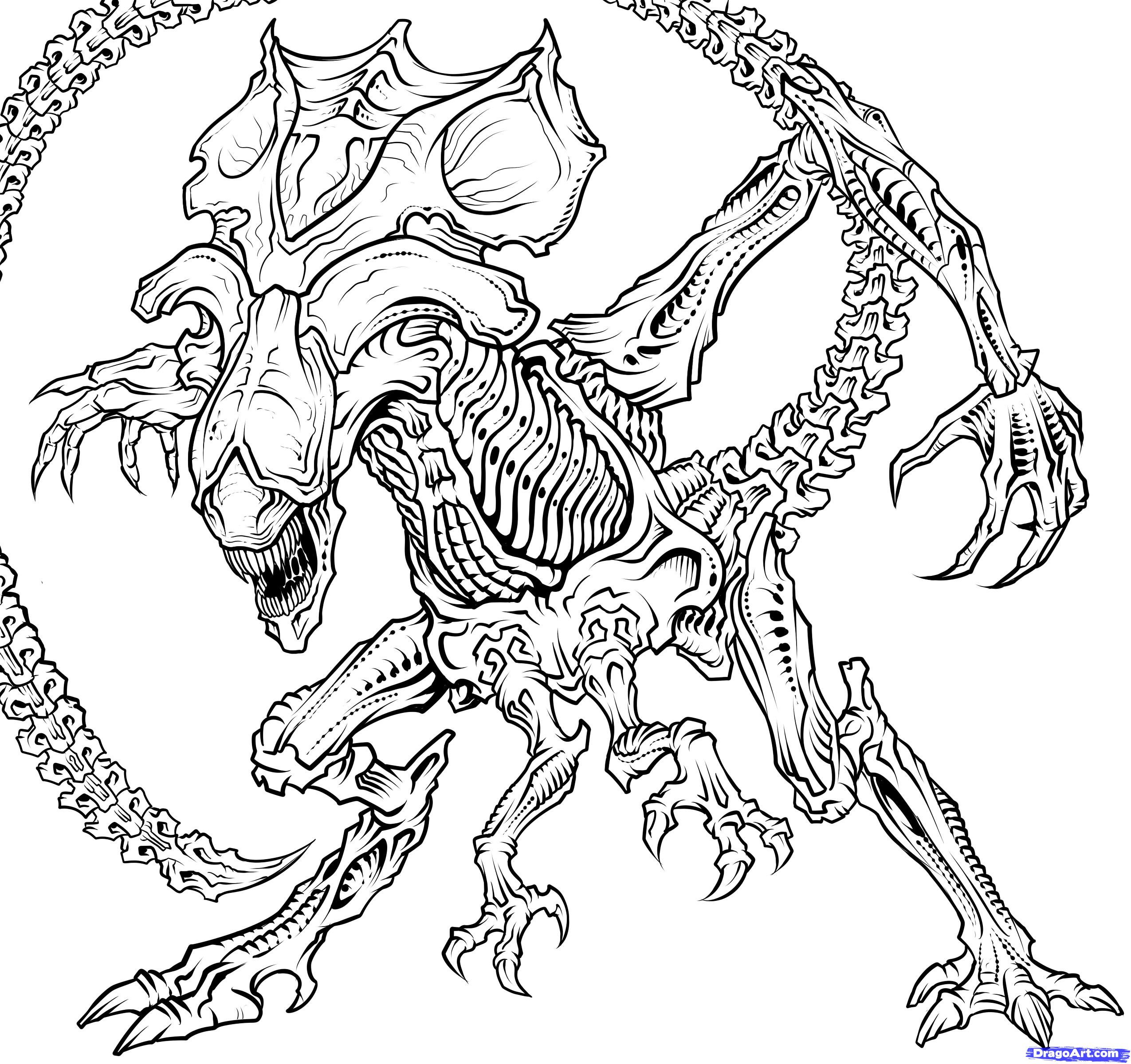 Aliens Coloring Pages  How to Draw a Queen Alien Queen Xenomorph Step by Step