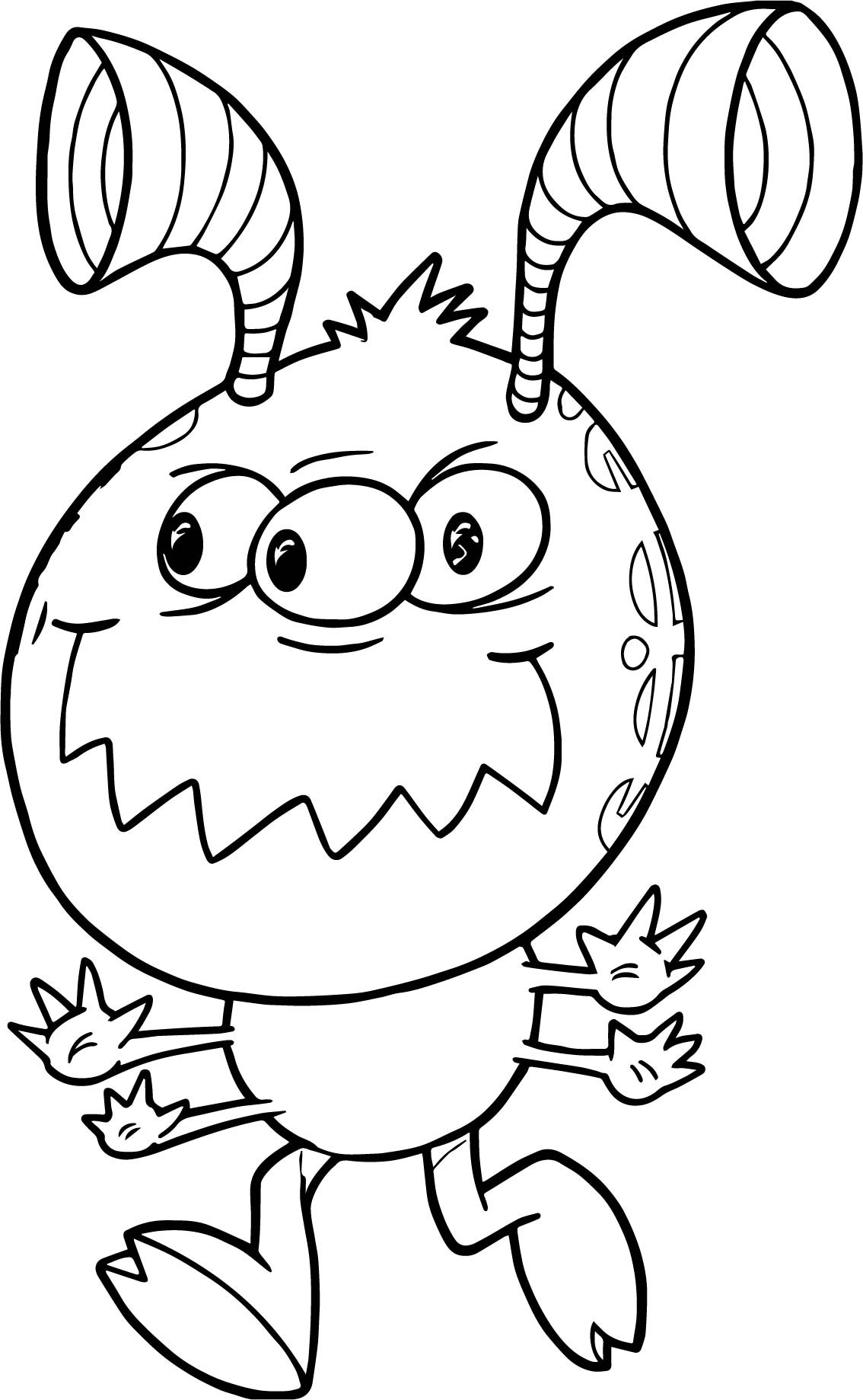 Aliens Coloring Pages  Mean Running Monster Cute Alien Coloring Page