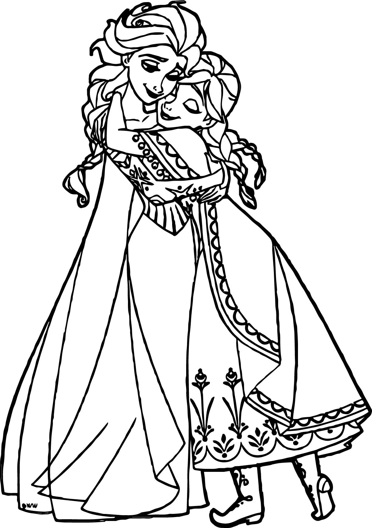 Ana And Elsa Coloring Pages  Anna Elsa Hugging Coloring Page
