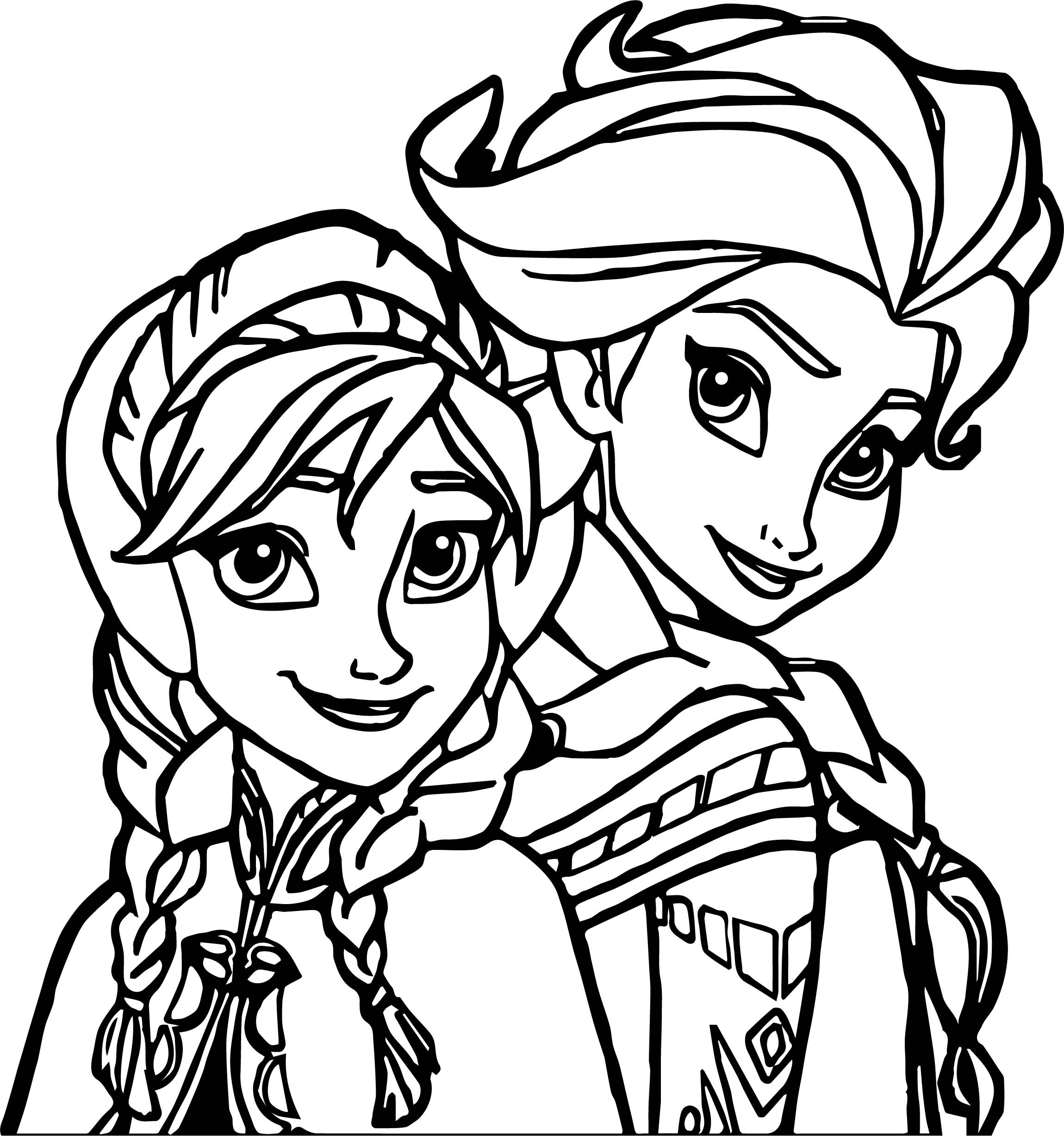Ana And Elsa Coloring Pages  Elsa Anna Coloring Page