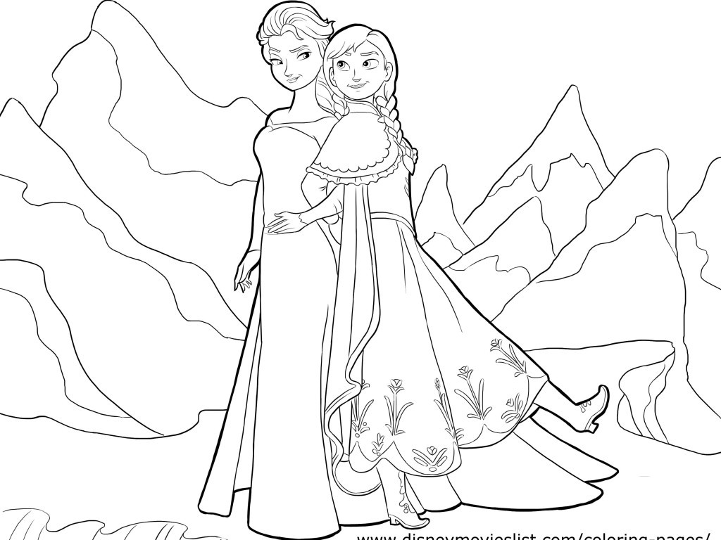 Ana And Elsa Coloring Pages  coloring pages anna and elsa