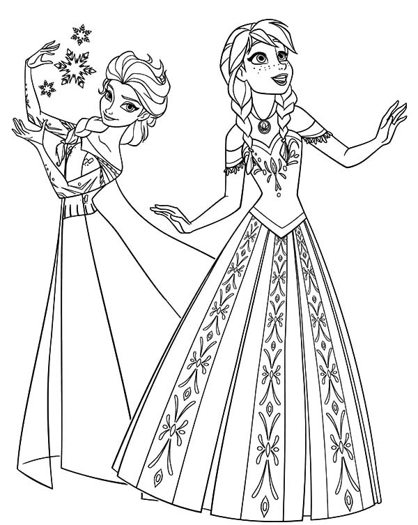 Ana And Elsa Coloring Pages  Free Printable Elsa Coloring Pages for Kids Best