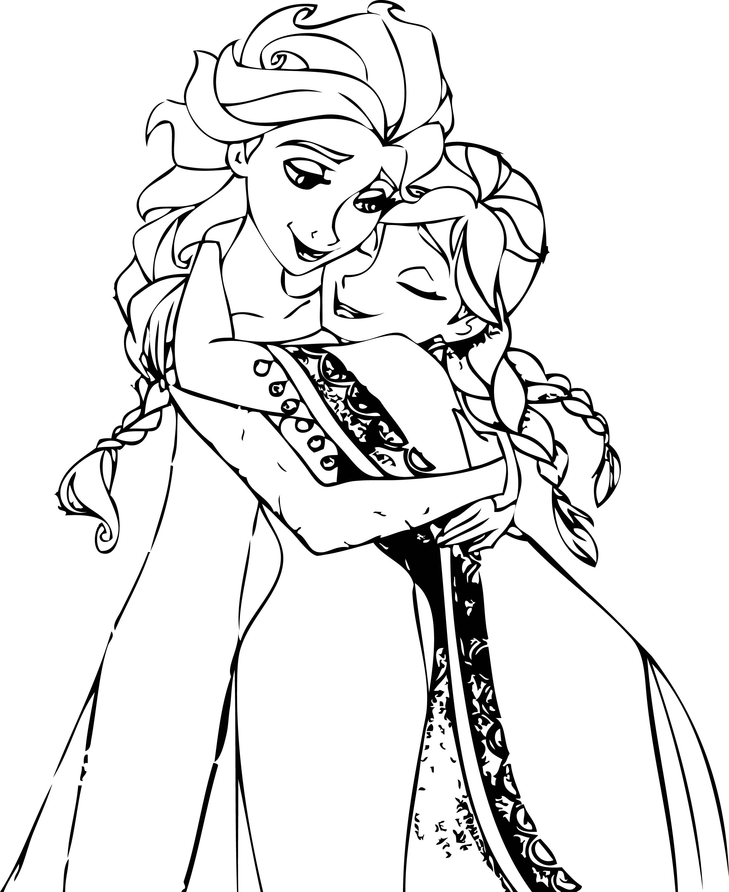 Ana And Elsa Coloring Pages  Elsa And Anna Hug Coloring Pages
