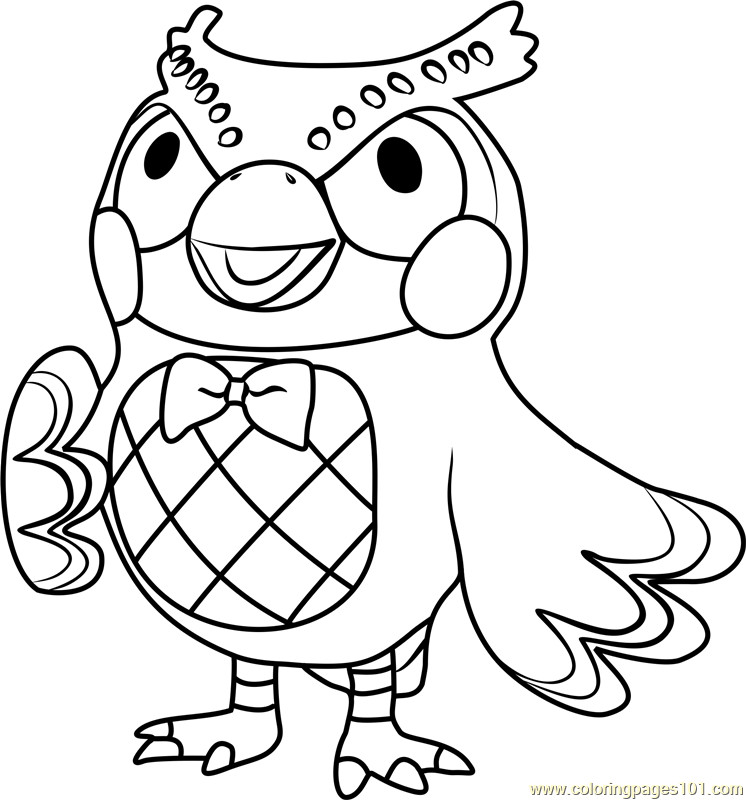 Animal Crossing Coloring Pages  Blathers Animal Crossing Coloring Page Free Animal