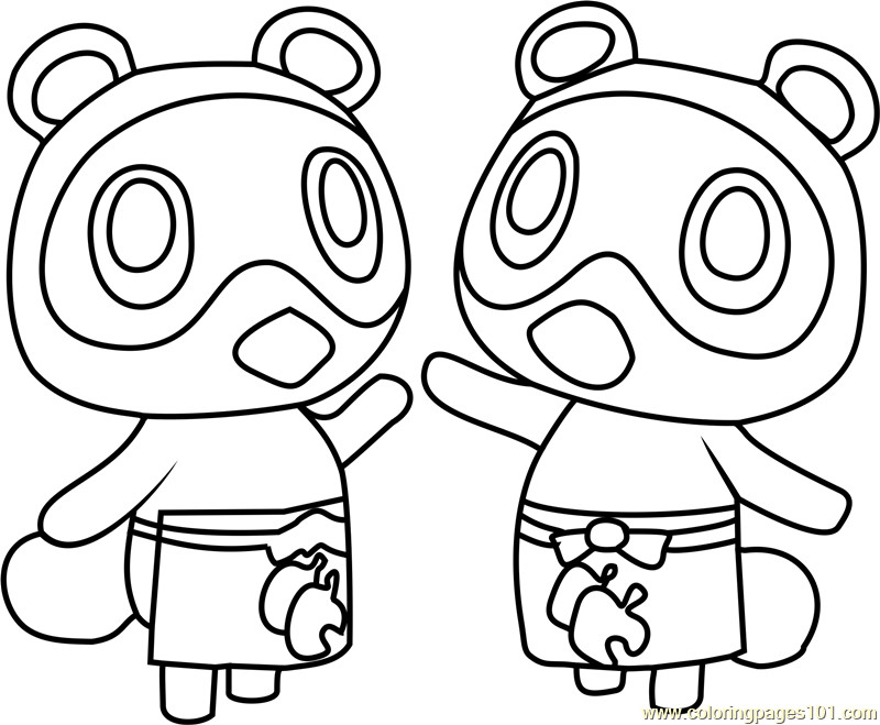 Animal Crossing Coloring Pages  Timmy and Tommy Animal Crossing Coloring Page Free