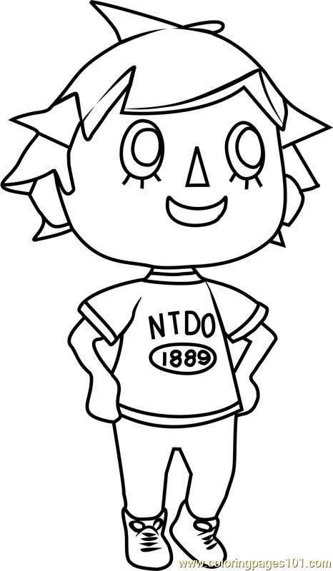 Animal Crossing Coloring Pages  Player Animal Crossing Coloring Page Free Animal