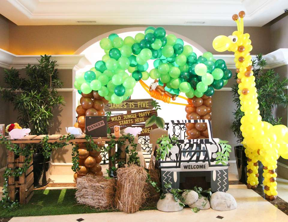 "Animal Themed Birthday Party  Animal Jungle Birthday ""The explorer James 5th Jungle"