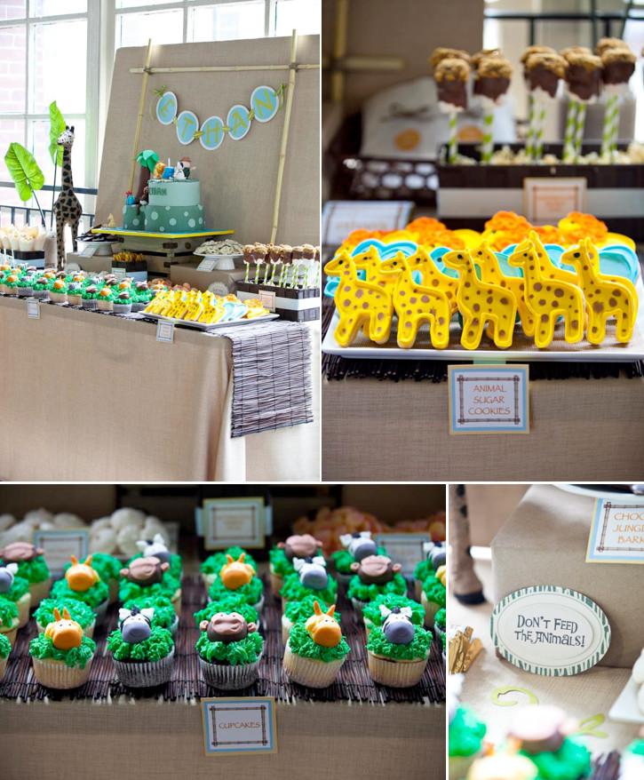 "Animal Themed Birthday Party  Kara s Party Ideas Safari Jungle ""Wild e"" Animal 1st"