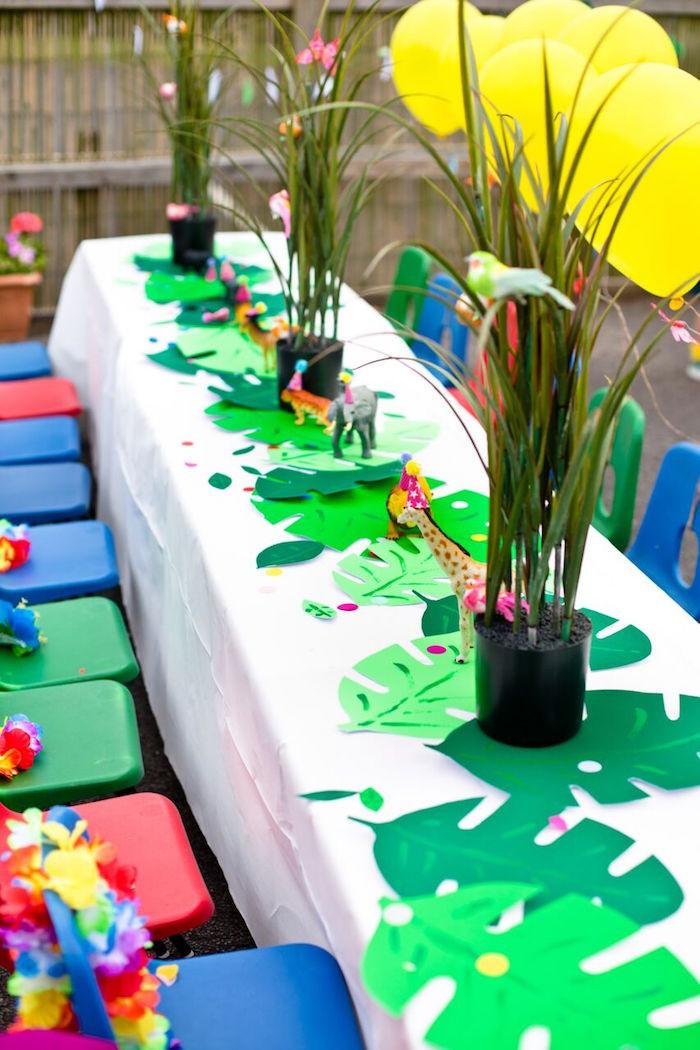 Animal Themed Birthday Party  Kara s Party Ideas Tropical Rainforest Jungle Animal