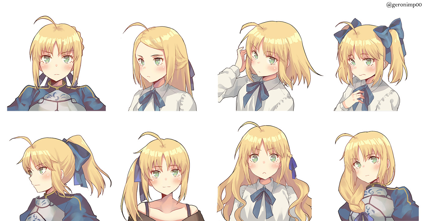 Anime Bangs Hairstyle  [Fanart][Fate] Saber in a ponytail anime
