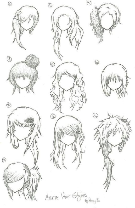 Anime Bangs Hairstyle  Hairstyles Anime Manga Drawing Art Bun Curly
