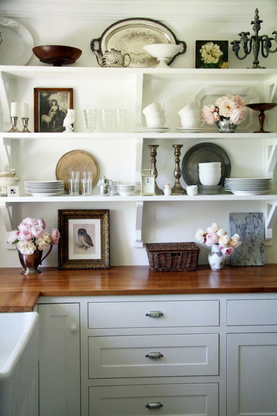 Best ideas about Antique Kitchen Decor . Save or Pin Small Vintage Kitchen Wall Decor With Shelf Idea Creative Now.