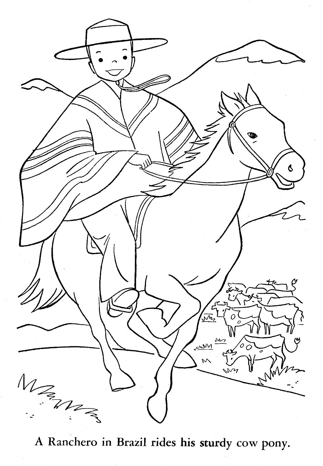 Argentina Coloring Pages For Kids  Children of Other Lands 1954 — Hawaii Alaska Mexico