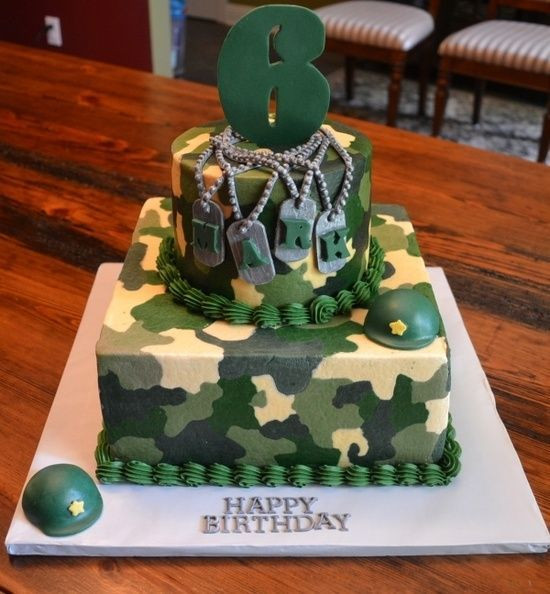 Army Birthday Cake  camouflage cakes two tier Army Camo 2 tier cake