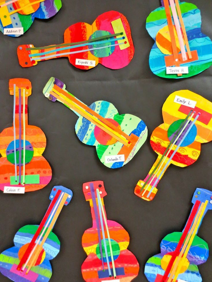 Best ideas about Art And Craft Ideas For Preschoolers . Save or Pin These collage guitars are adorable Perfect art project Now.
