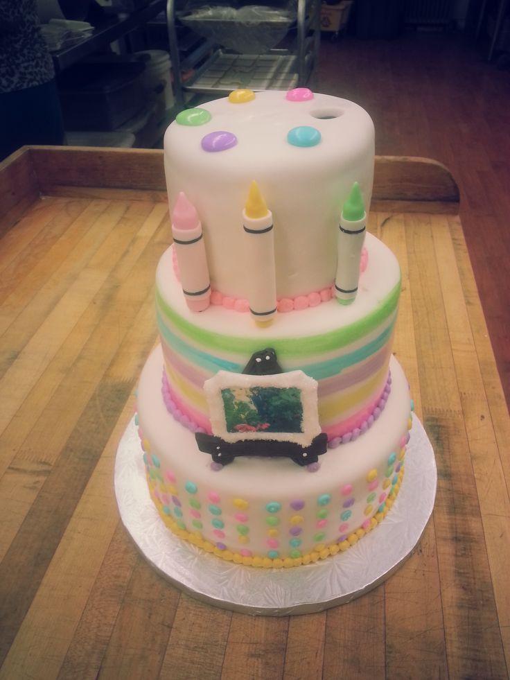 Artsy Birthday Cake  It s our artsy fartsy party cake plete with fondant