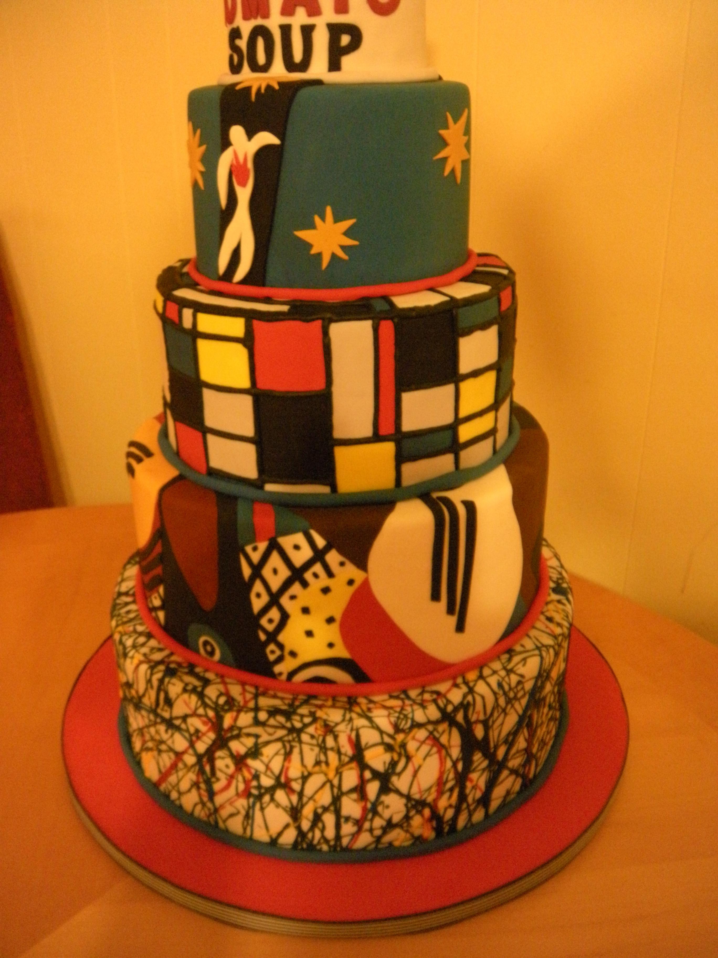 Artsy Birthday Cake  picasso cake