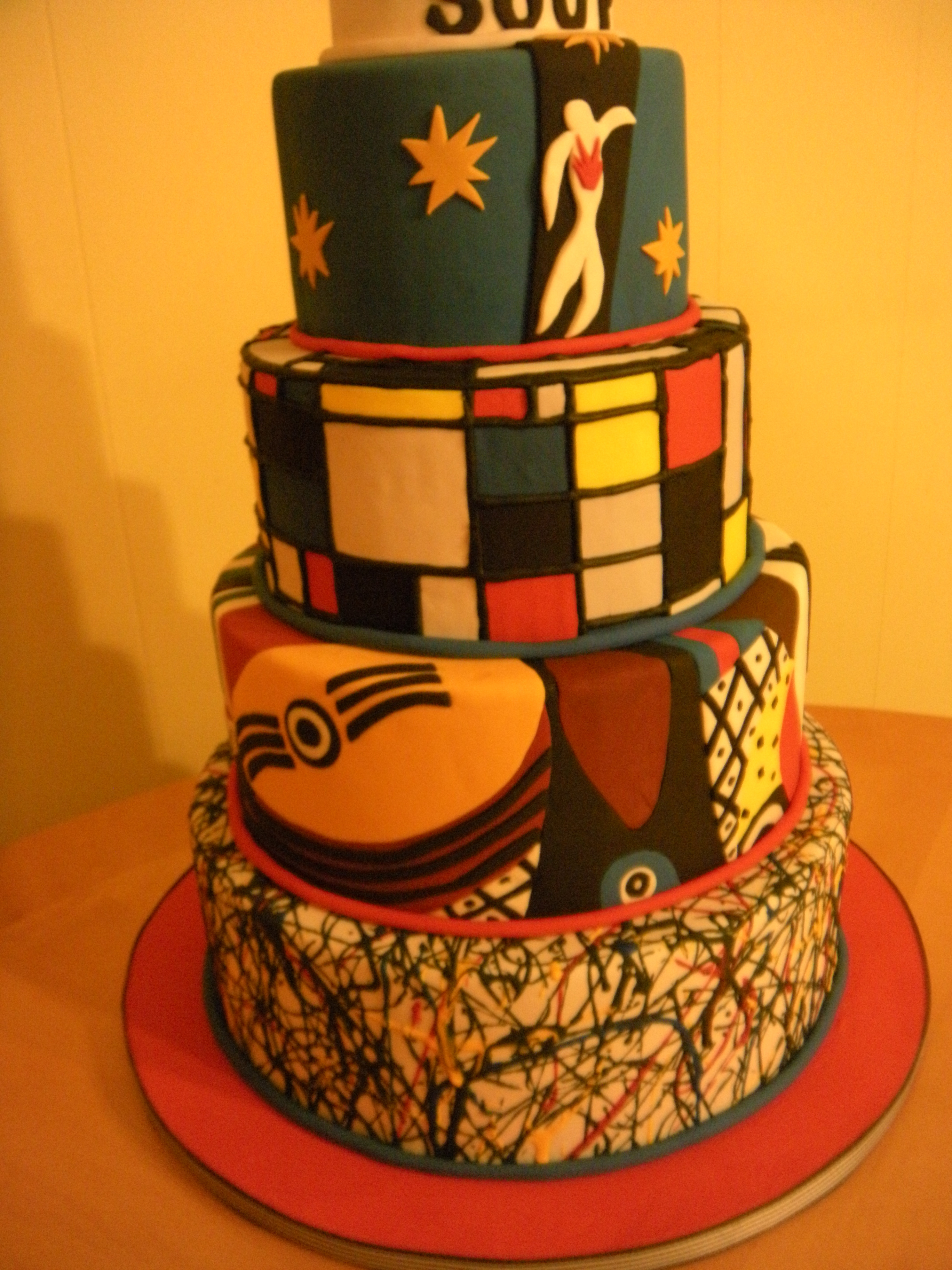 Artsy Birthday Cake  Artsy Fartsy Cake Inspired by Pollock Picasso Mondrian